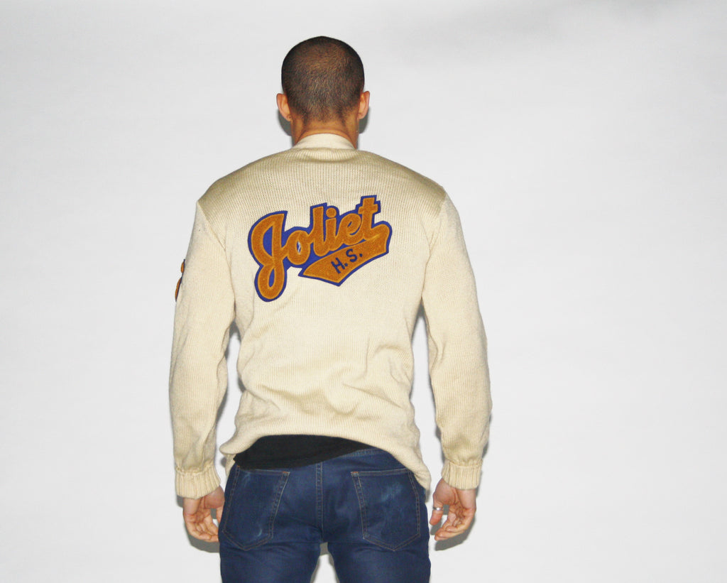 1950s Vintage Joliet High School Rare Wool Varsity High School Letterman Cardigan
