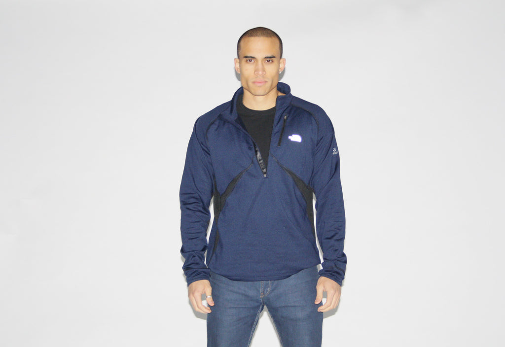The North Face Black Navy Blue Pullover Athletic Sweater Jacket - NE