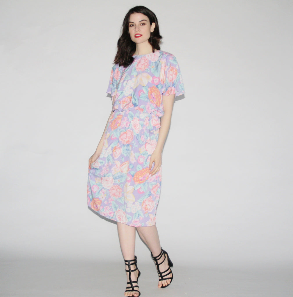 Women's Vintage 80s Floral Pastel Purple Dress