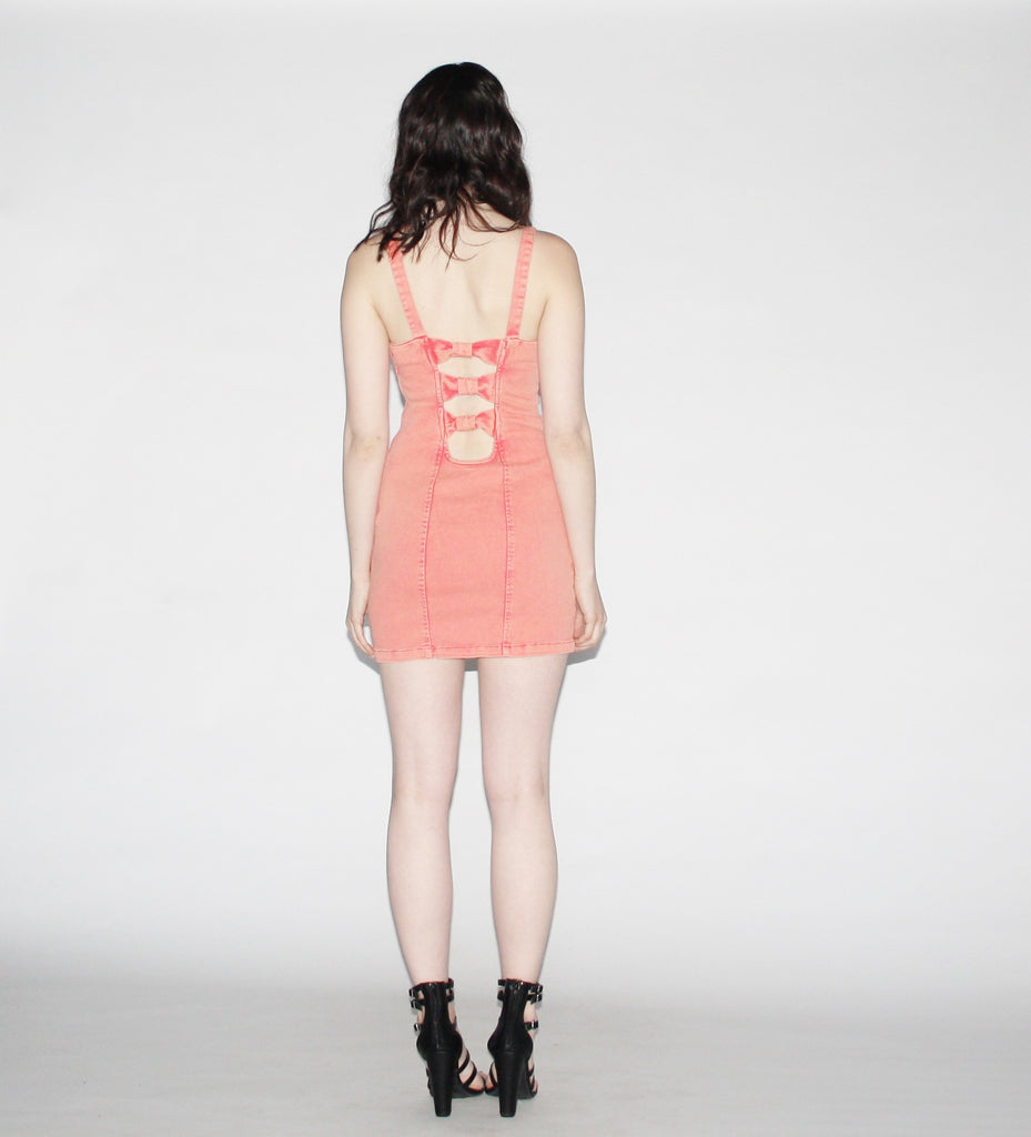 Vintage 90s Pastel Coral Acid Wash Denim Cut Out  Body Con Jean Dress