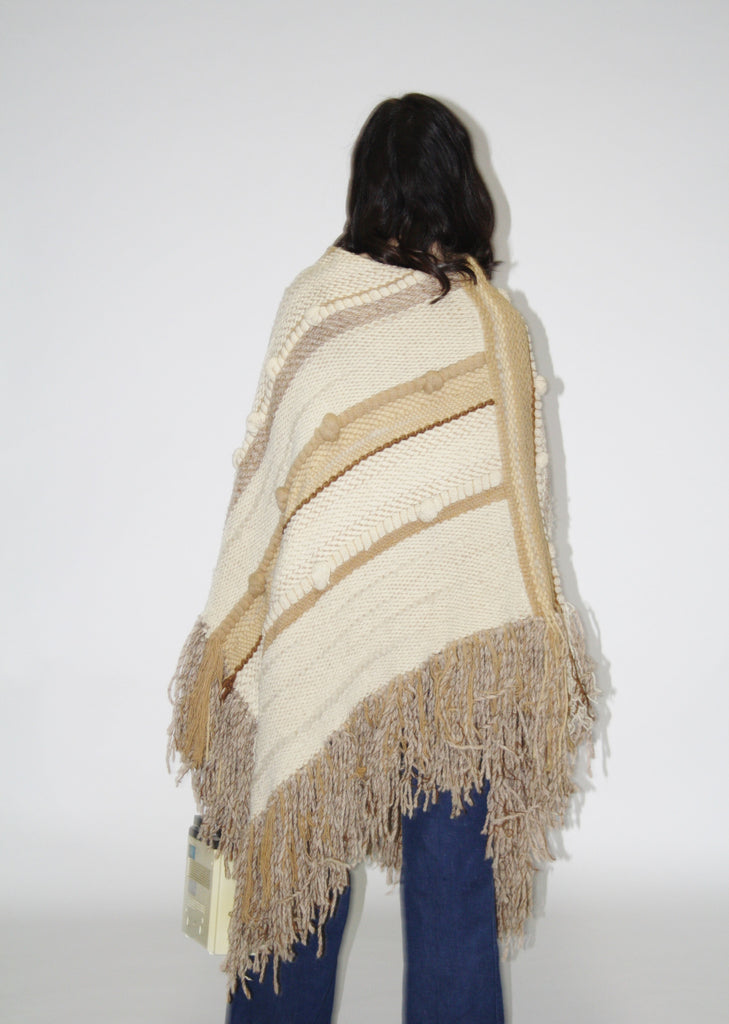 Vintage 60s Hippie Fringe Over-sized Beige Woven Poncho