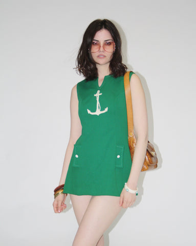 Vintage 1960s Green Anchor Sailor Tunic Top