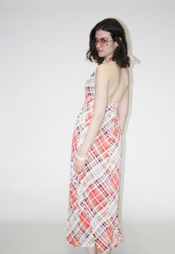 Vintage 1960s Plaid Backless Halter Women's Maxi Dress