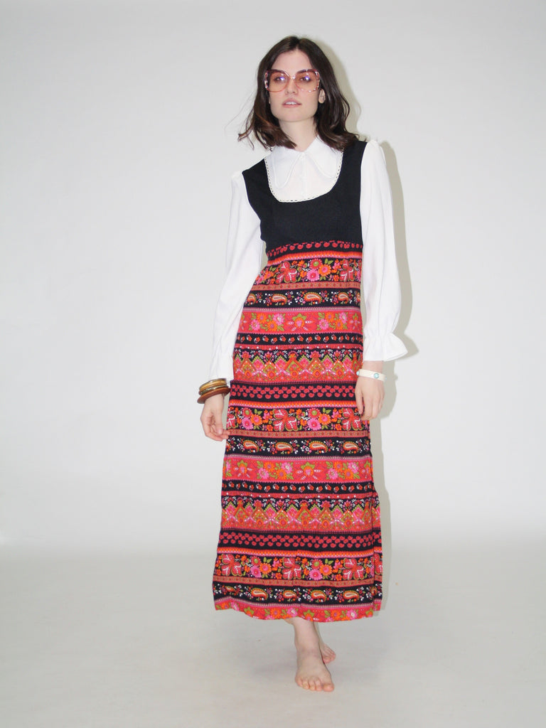 Women's Vintage 1970s Paisley Floral Maxi Dress