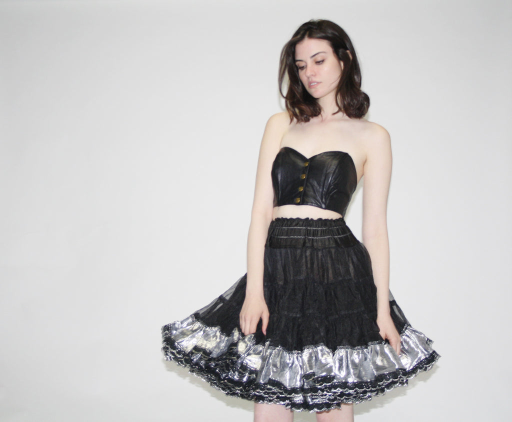 1950s Vintage Black and Silver Lace Crinoline Skirt