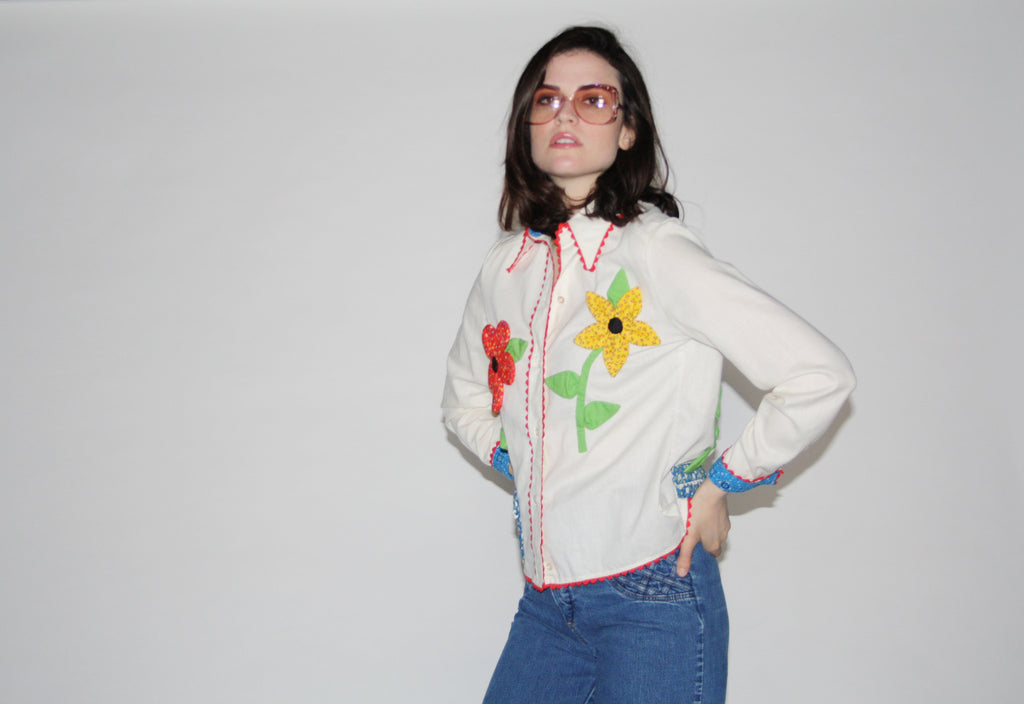 Vintage 70s Rare Levis White Floral Applique Button Up Shirt