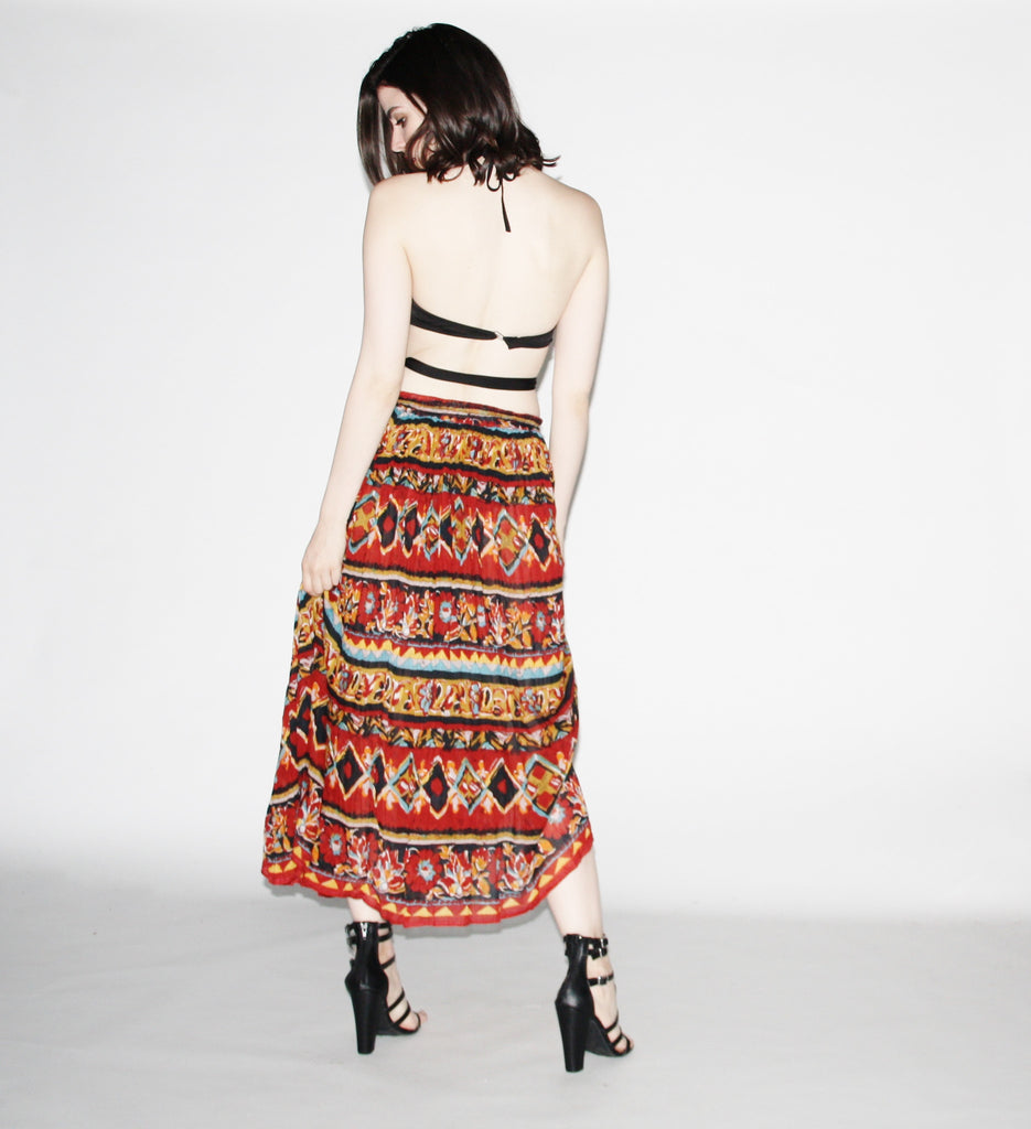 Vintage 1990s Indian Cotton Tribal Earthy Maxi Skirt.