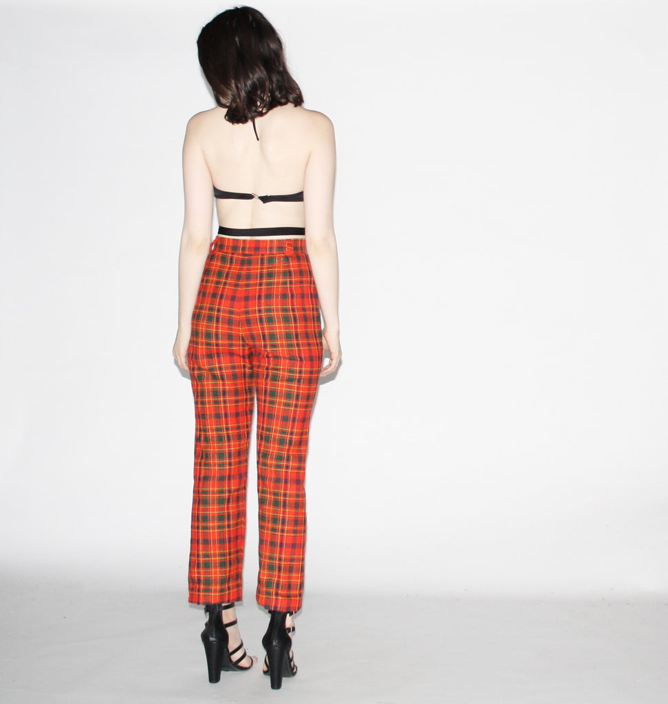 Vintage 60s High Waist Red Plaid Women's Pants