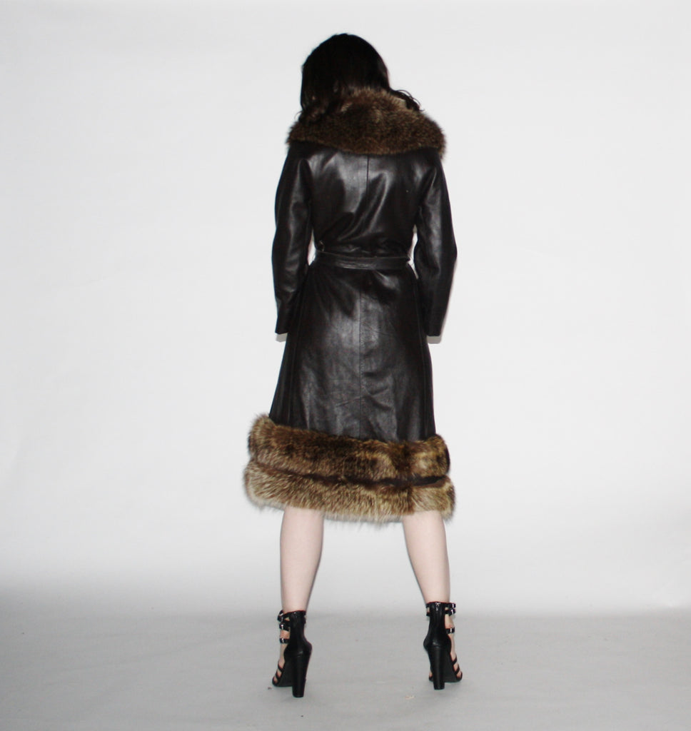 1960s Vintage  Leather Princess Coat with Fur Trim