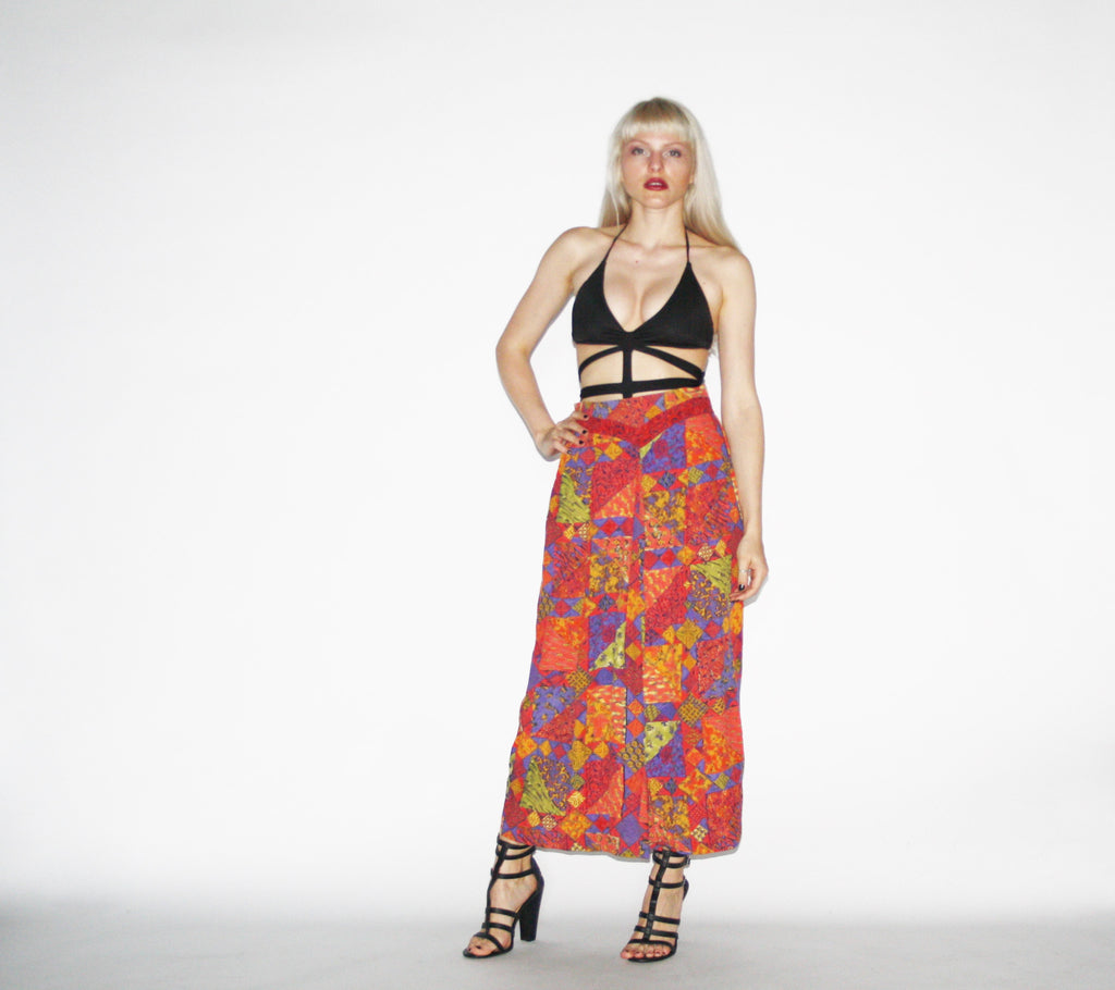 Vintage 1990s Graphic Bold Wide Leg Palazzo Pants
