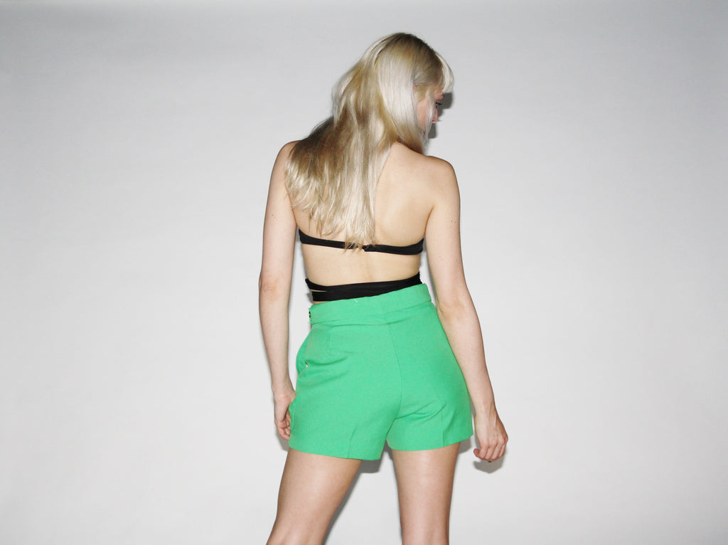 60s rare vintage green cannabis leaf short trouser shorts