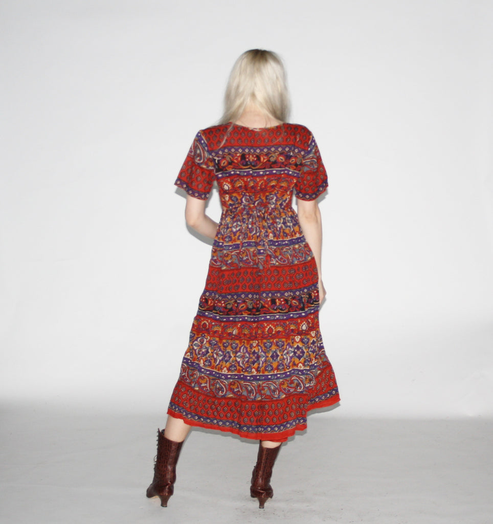 Vintage 1990s Indian Cotton Red Gypsy Hippie Midi Dress