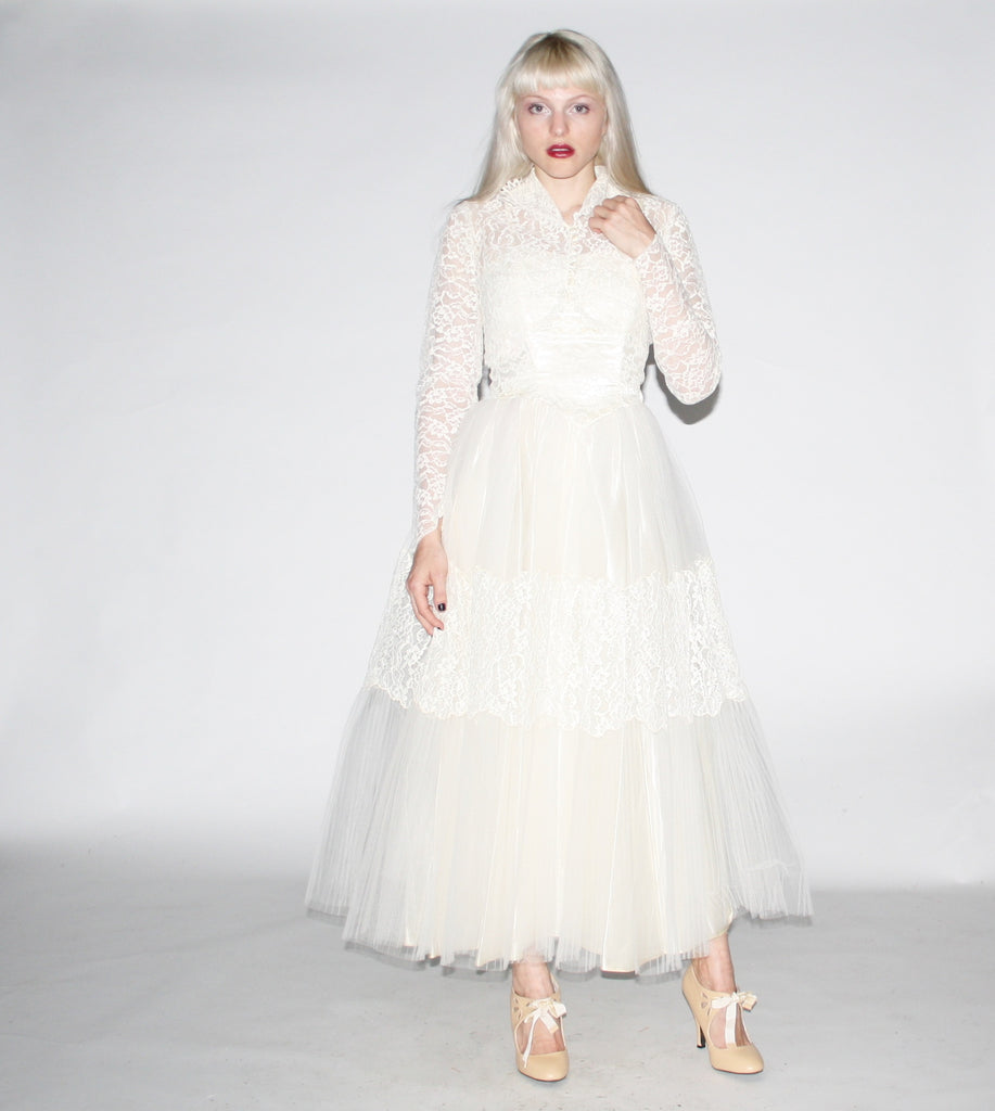 1950s Vintage Lace Wedding Dress with Lace Bridal Jacket