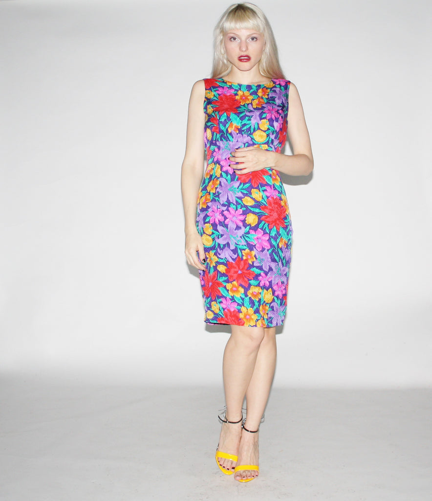 1980s Vintage Floral Silk Cocktail Wiggle Dress