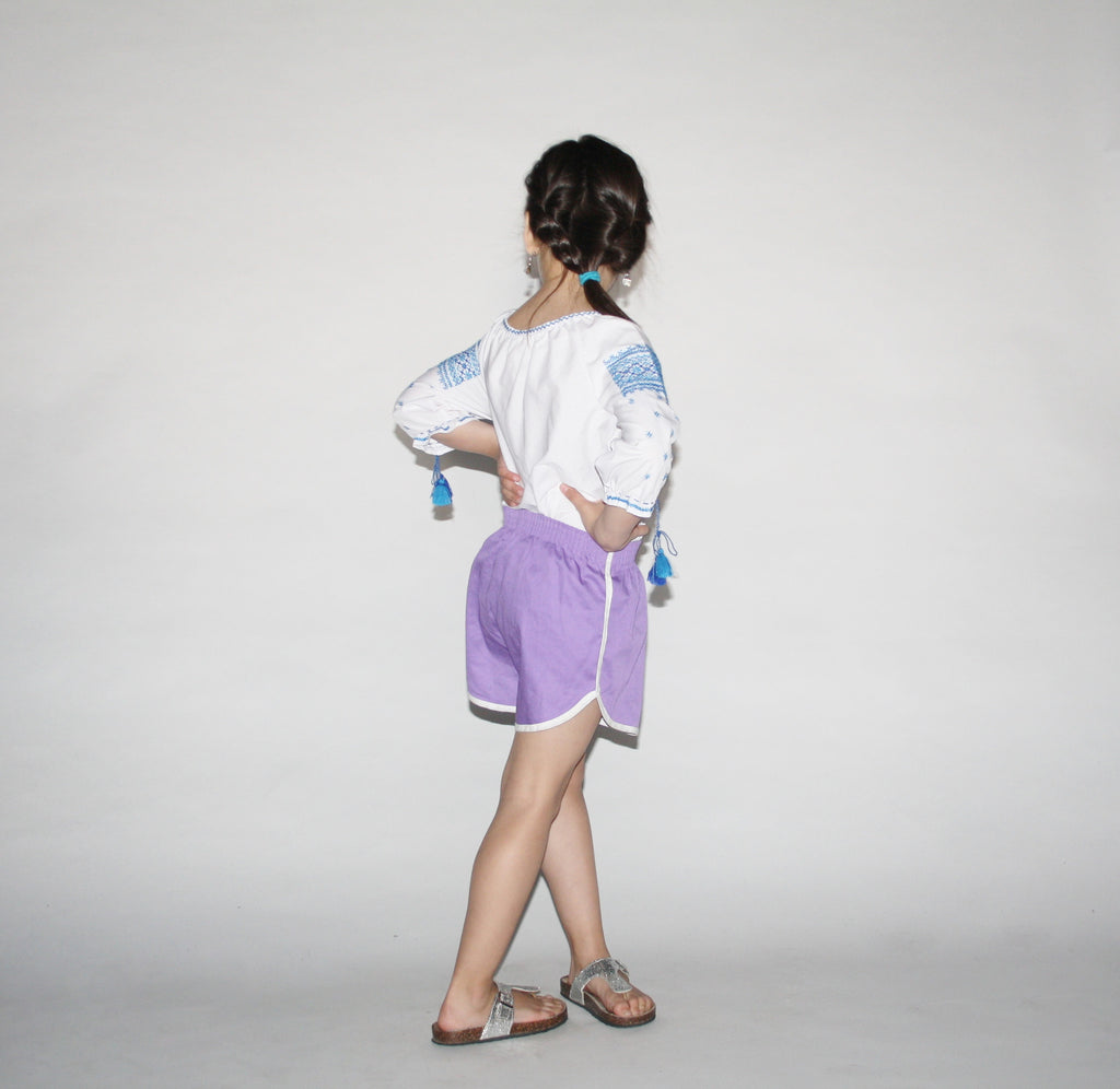 Kid's Vintage 1980s Purple Athletic Running Shorts