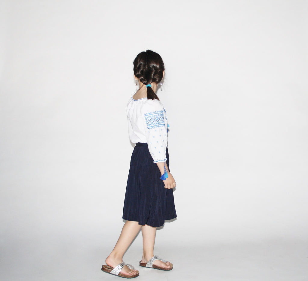 Kid's Vintage 1950s Blue Pleated Skirt