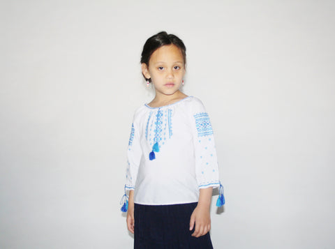 Kid's Vintage 1970s White Embroidered Tassel Blouse Top