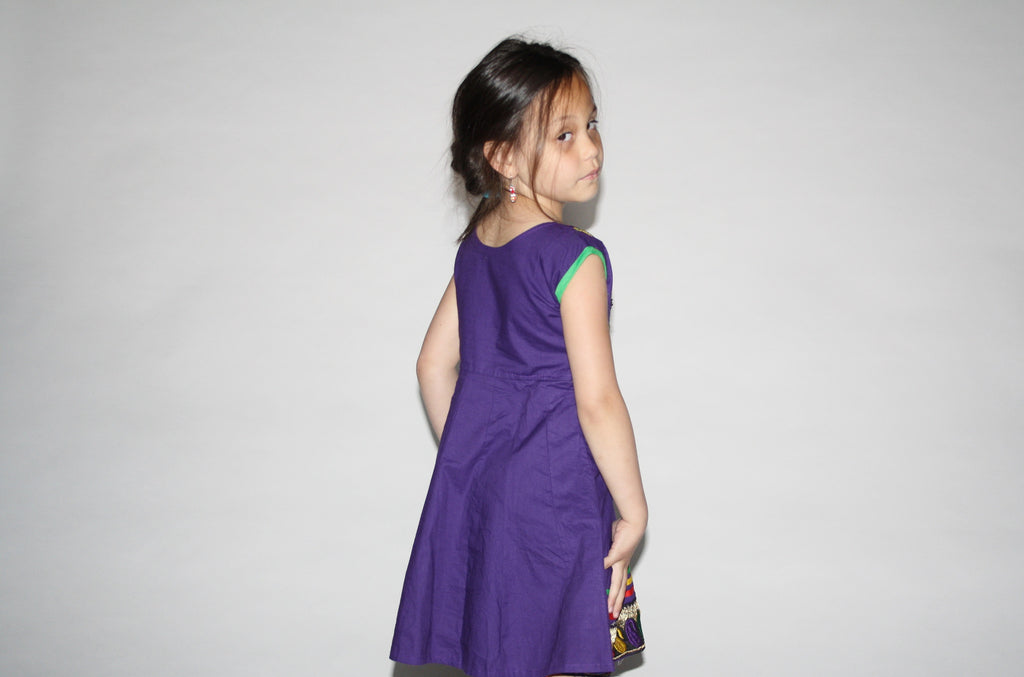 Kid's Vintage 1990s Purple Ethnic Fiesta Embroidered Dress