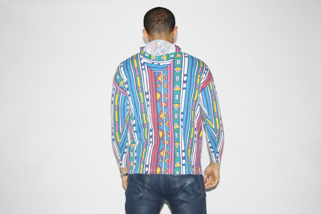 1990s Vintage Fresh Prince Tribal Hooded Sweater Shirt