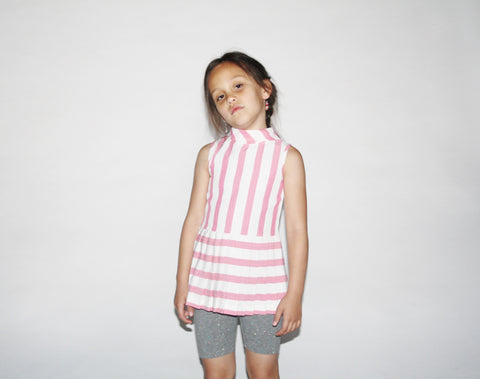 Kid's Vintage 1960s Pink Striped Pleated Skirt Tunic Dress