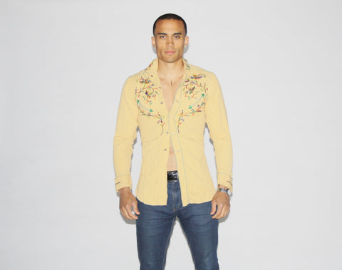 1950s Vintage Western Ranch Rainbow Embroidered Cowboy Shirt