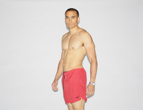 1990s Emporio Armani Red Swim Trunks