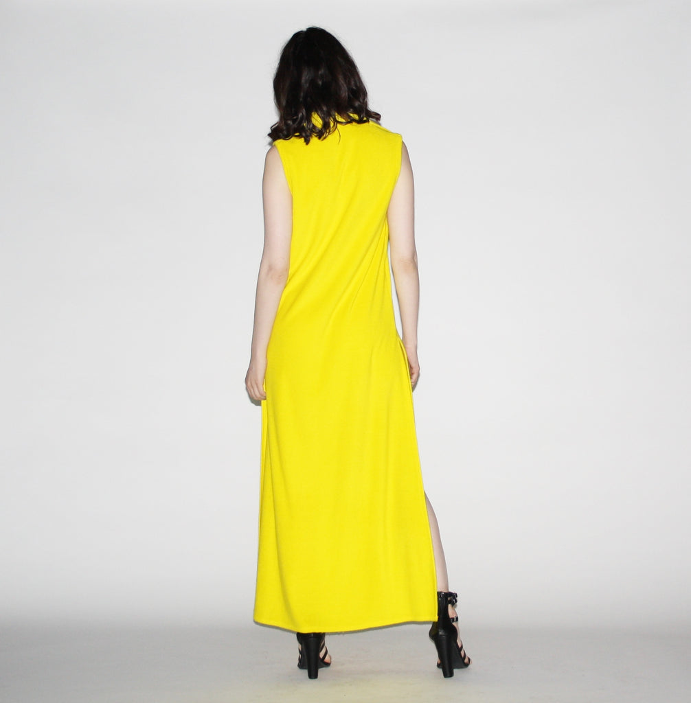 1970s Neon Yellow Vintage Terry Cloth Maxi Dress