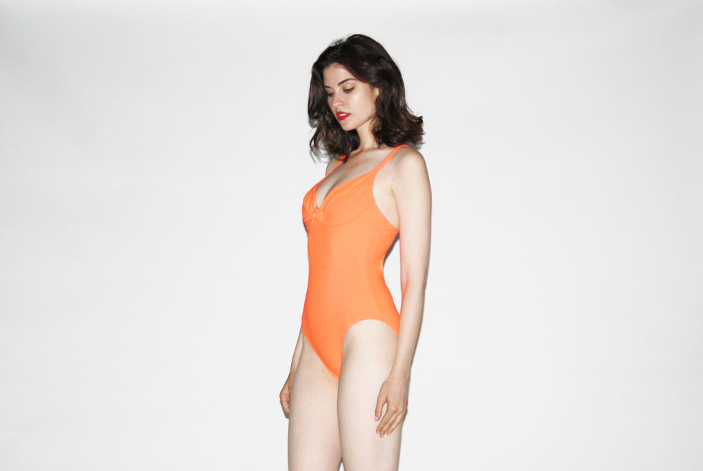 1990s Orange Neon Swim Suit High Cut Bathingsuit.