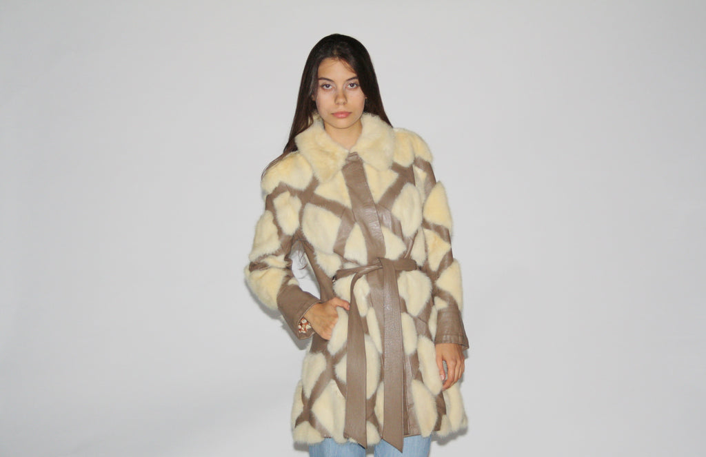 1960s Fox Fur Quilted Leather Patchwork Hippie Boho Long Jacket