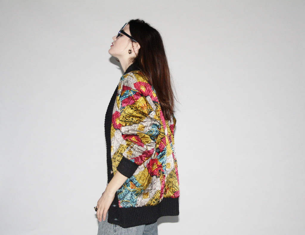 Vintage 90s Baroque Royalty Oversized Reversible Sweater Jacket