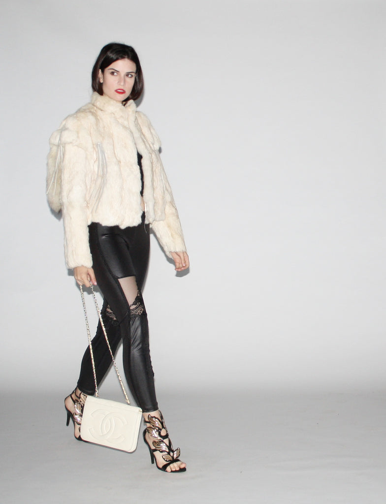 1980s Vintage White Rabbit Fur coat with Fringe and Foxtail Details