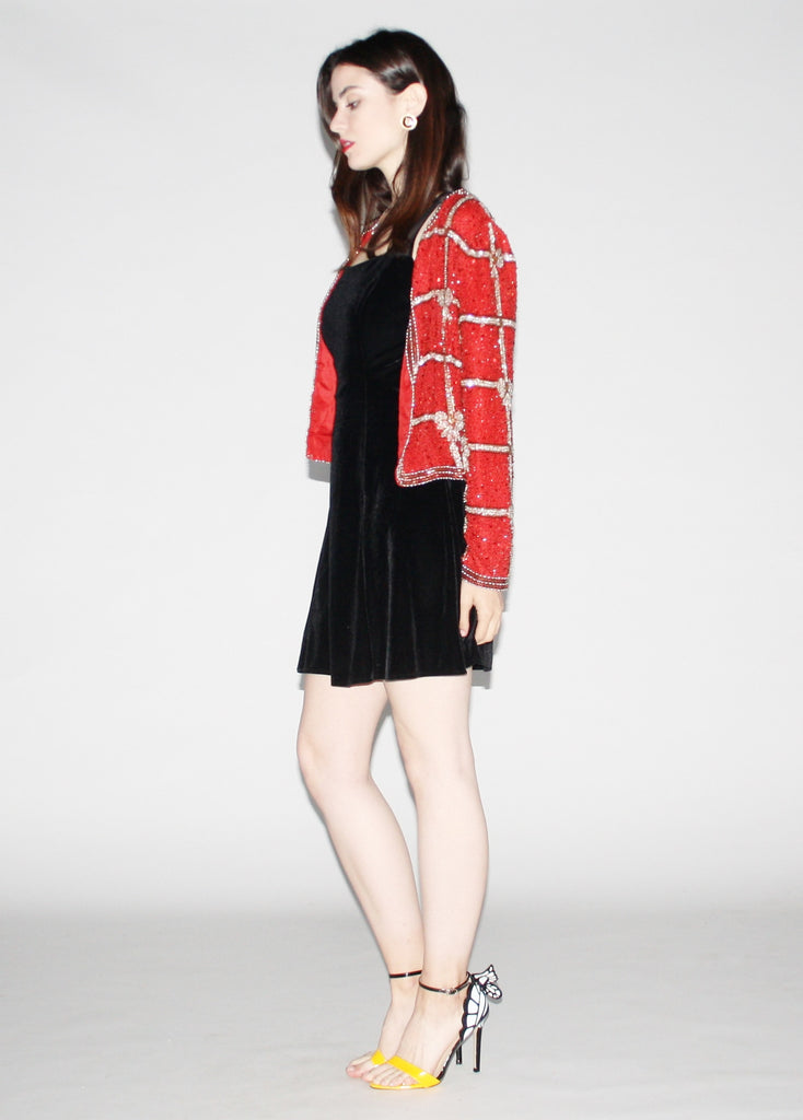 Vintage 1980s Red Sequin Jacket