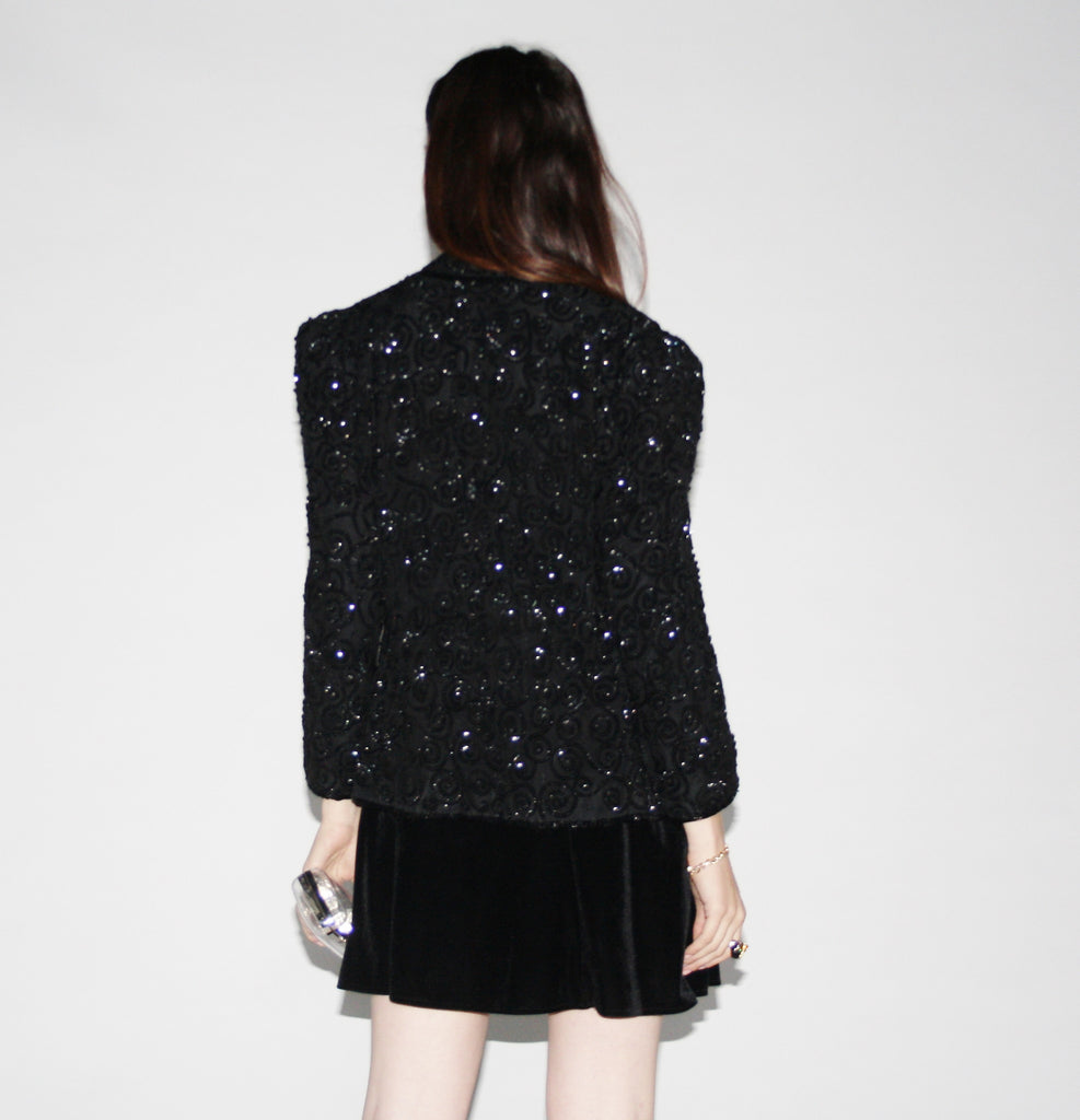 Vintage 1990s Black Sequin Jacket