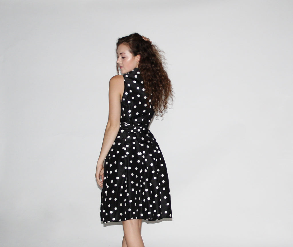 1990s Vintage Black and White Polka Dot Wrap Dress