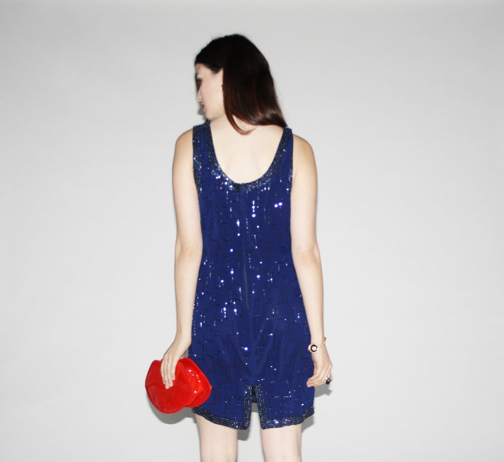 Vintage 1990s Blue Beaded Party Dress