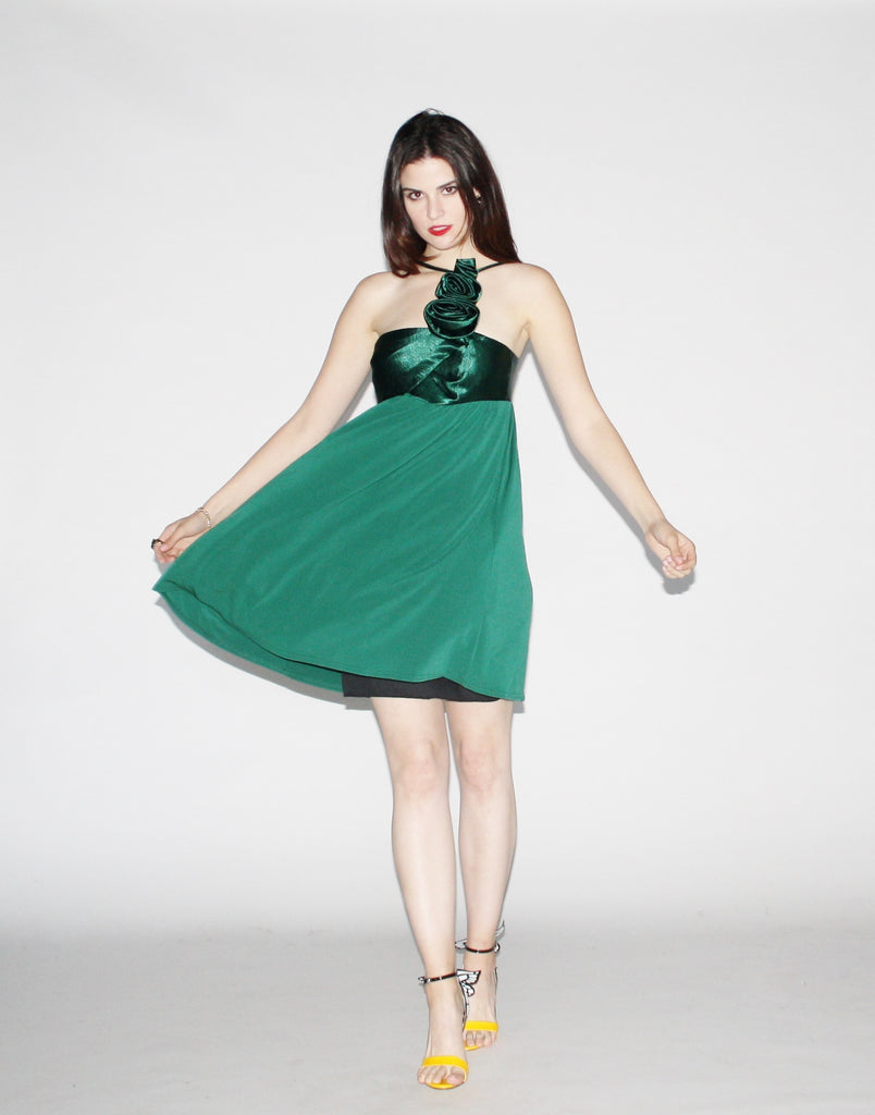 Vintage 1980s Emerald Green Party Dress