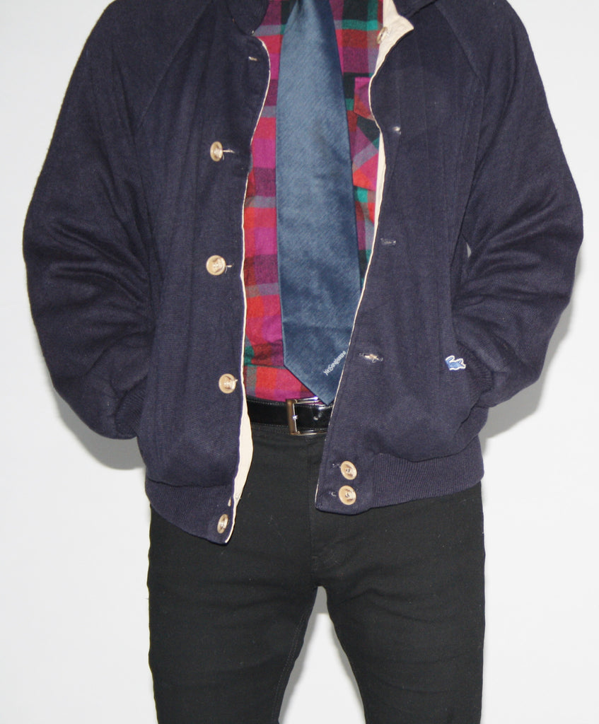 80s Reversible Navy and Tan Lacoste Prep Jacket