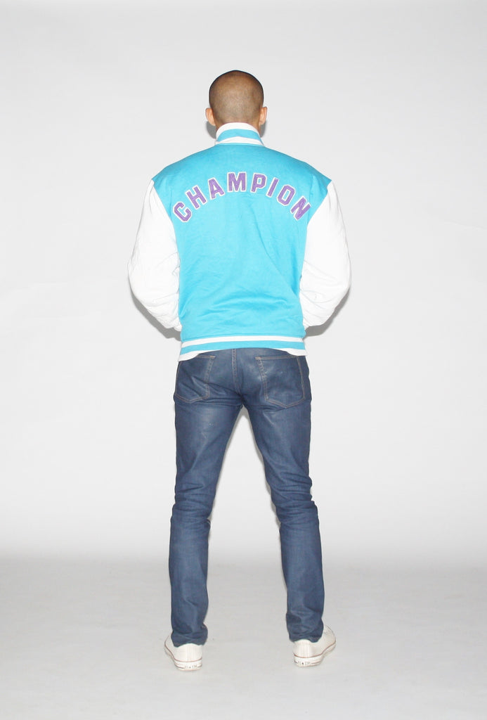 90s Vintage Champion Baby Bright Blue Varsity Leather Sleeve Jacket