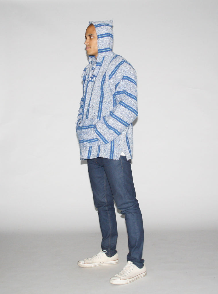 1990s Vintage Shades of Blue Baja Men's Drug Rug Sweater