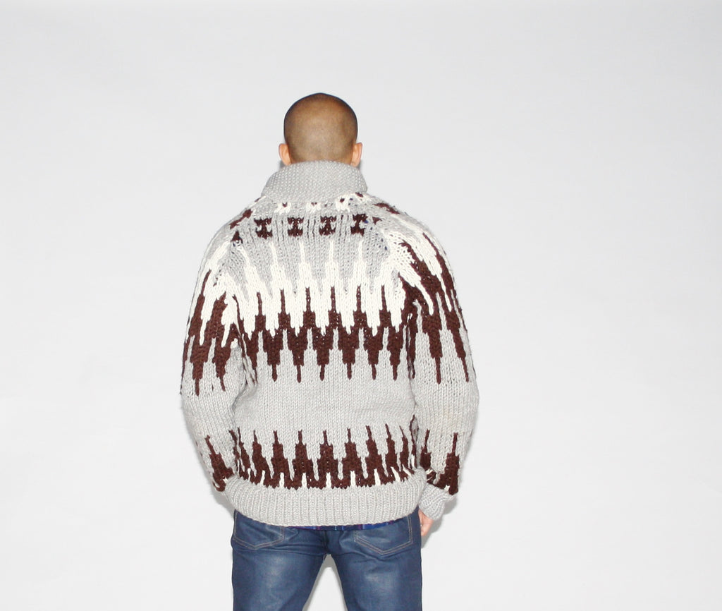1950s Chunky Knit Cowichen Men's Cardigan Sweater