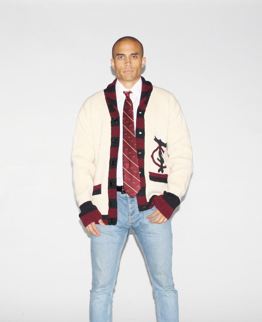 1950s Vintage Nautical Sailor Wool Varsity Letterman Cardigan