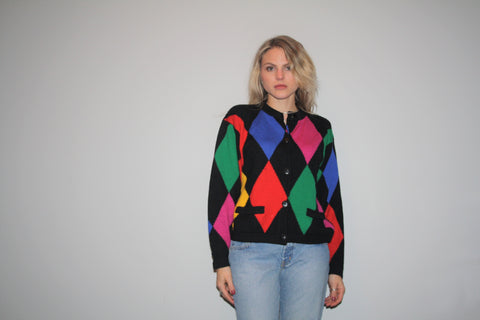 100 Percent Wool Black and Rainbow Diamond Harlequin 90s Cardigan Sweater - Vintage Harlequin Sweaters - 1990s Clothing - 129