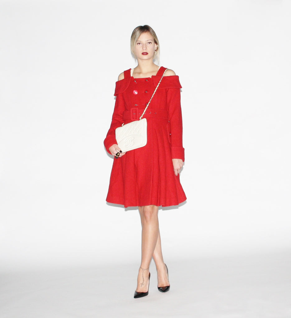 Vintage Preppy Modern Cherry Red Swing Princess Coat
