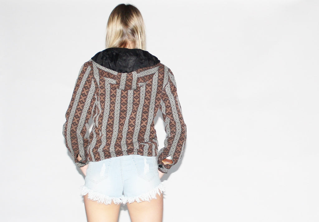 Vintage 1960s Woven Tribal Bomber Hoodie