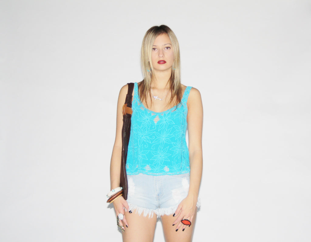 Vintage Embroidered Floral Bohemian Turquoise Crochet Cut Out Festival Tank