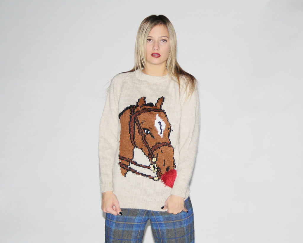 Vintage Preppy Horse Sweater