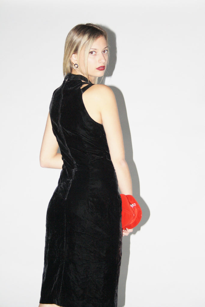 Vintage 1990s Black Velvet Cutout Dress