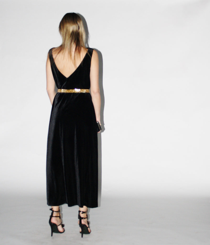 Vintage 1990s Black Velvet Long  Dress