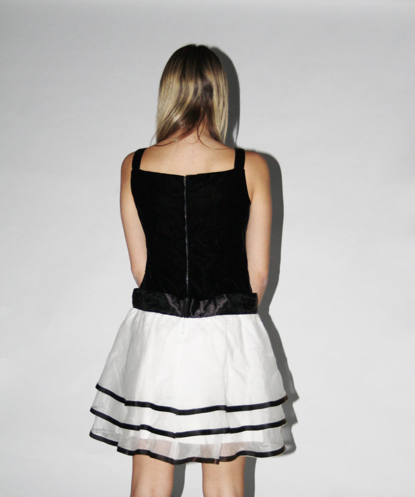 Vintage 1980s Black and White Party Dress