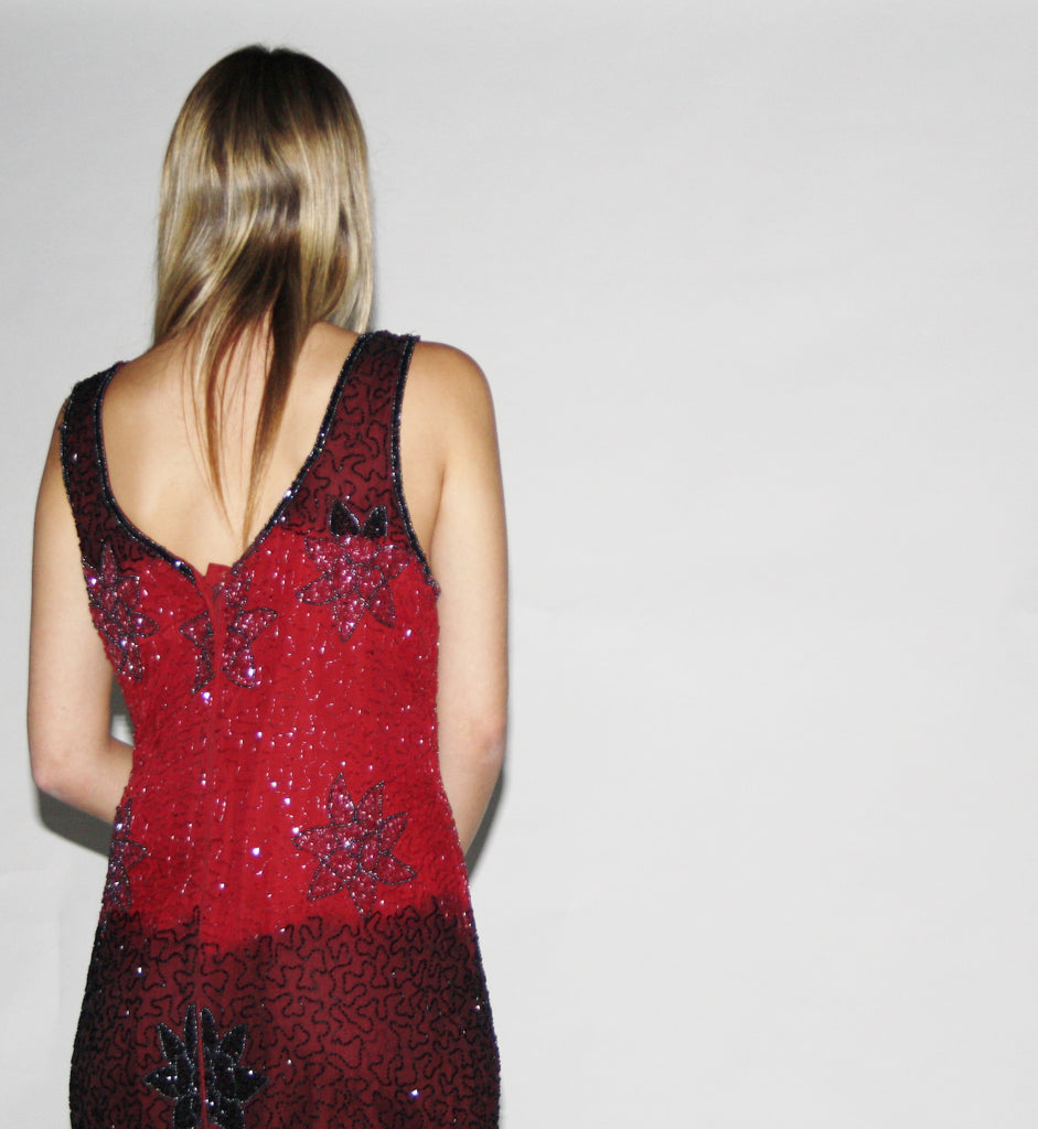 Vintage 1980s Ombre Beaded Sequin Gown